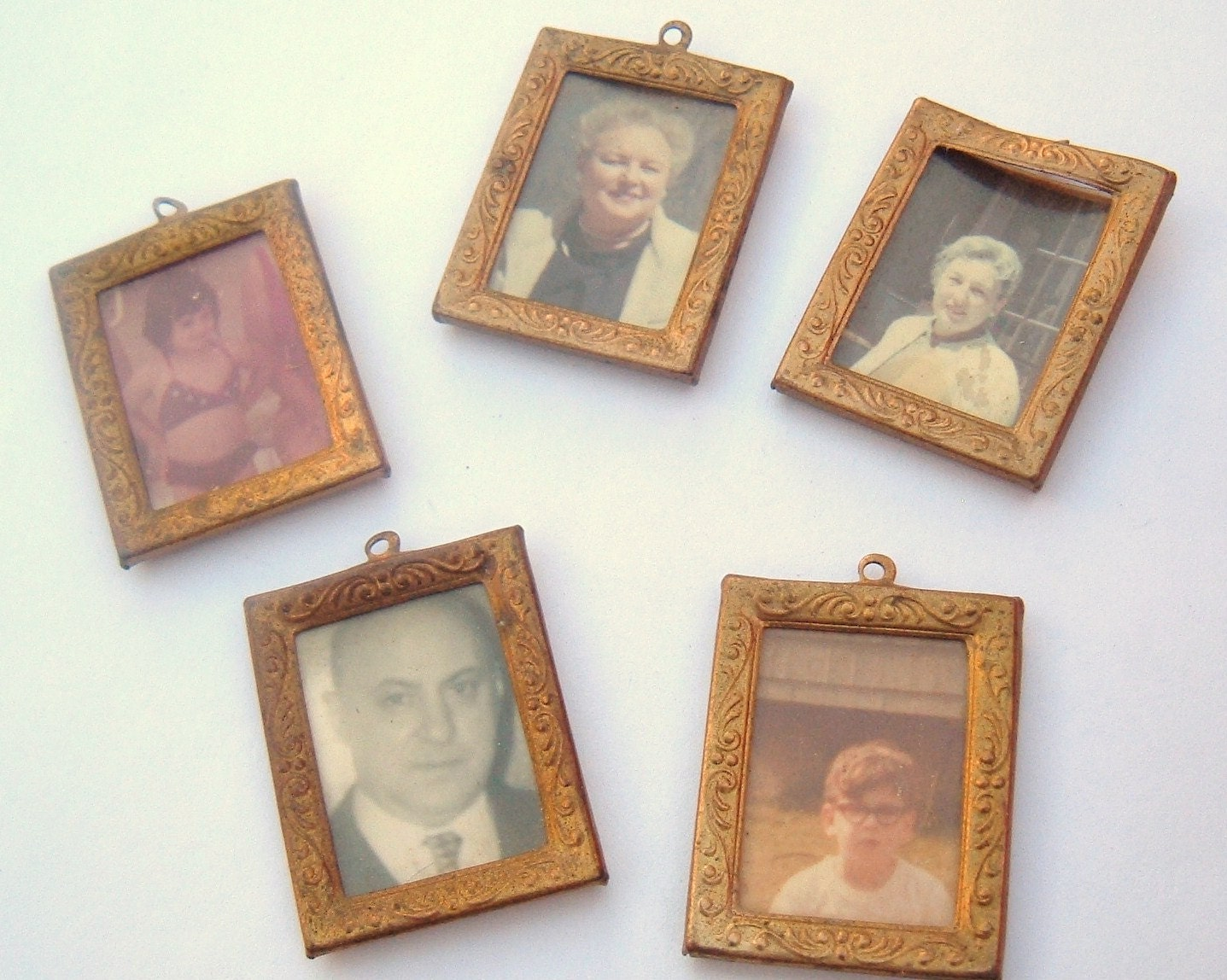 Vintage photos inside of metal charm frames lot of 5