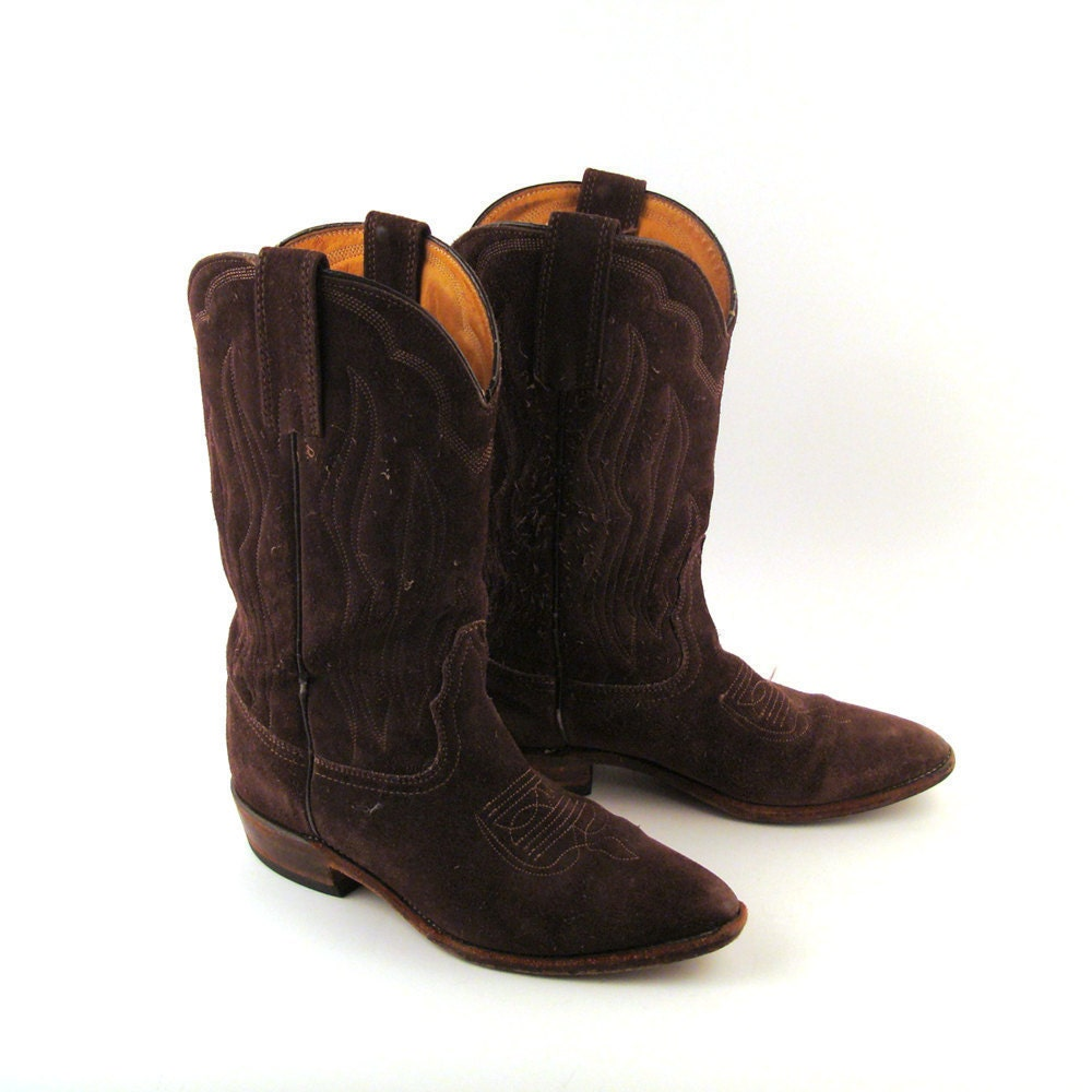 frye suede boots vintage 1980s brown cowboy by