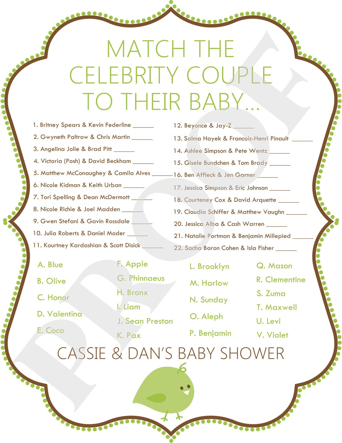 celebrity baby shower game jpeg file green by poshpapetiere
