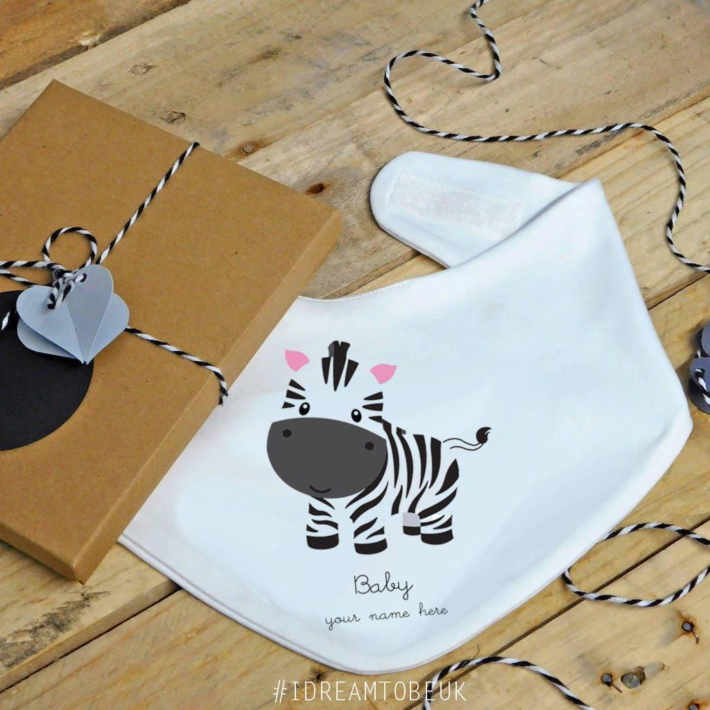 Baby zebra bandana bib  personalised dribble bib feeding bib drool catcher baby shower gift baby boy baby girl birthday gift animal