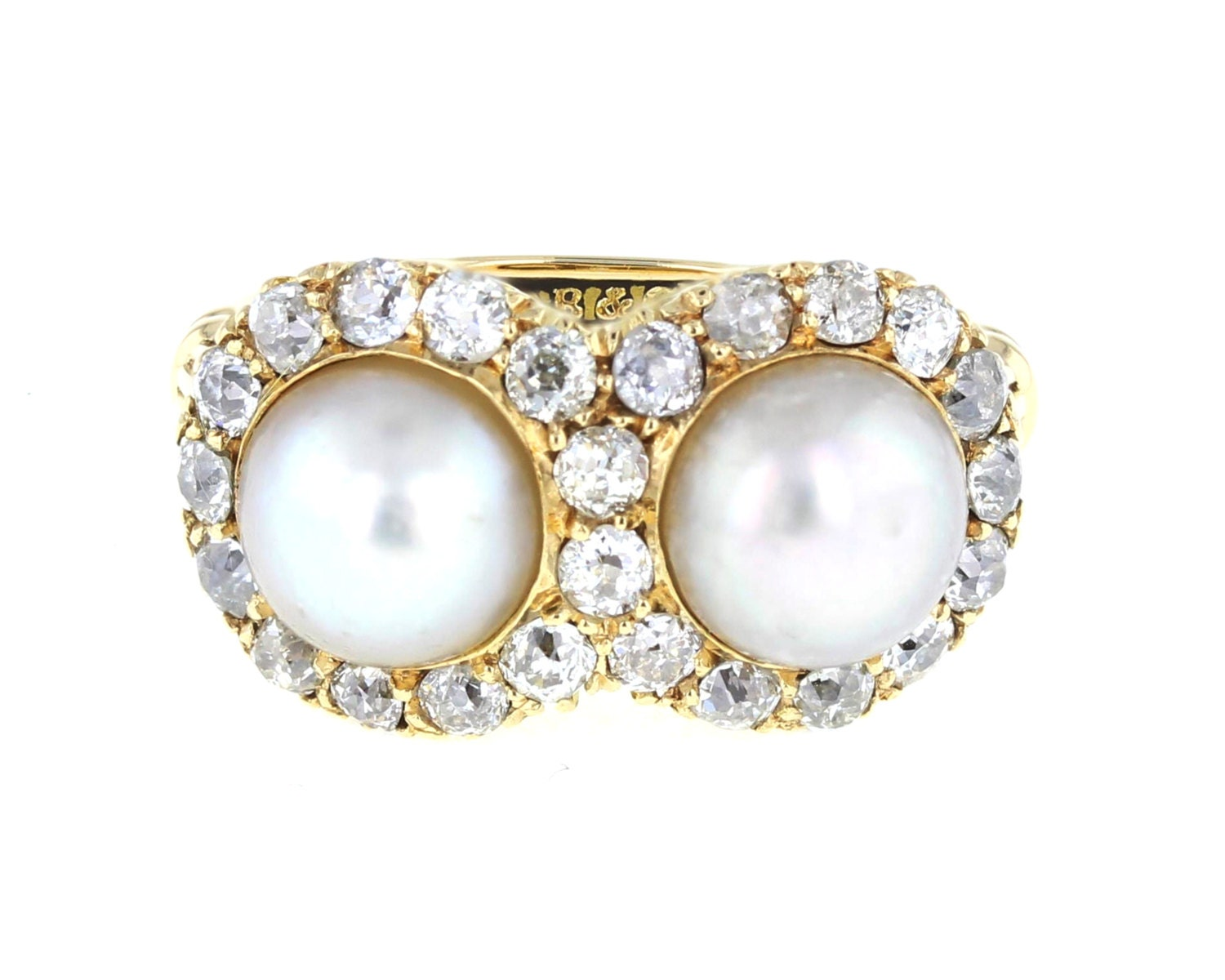 Antique Pearl and Diamond Double Cluster Ring in 18ct White Gold