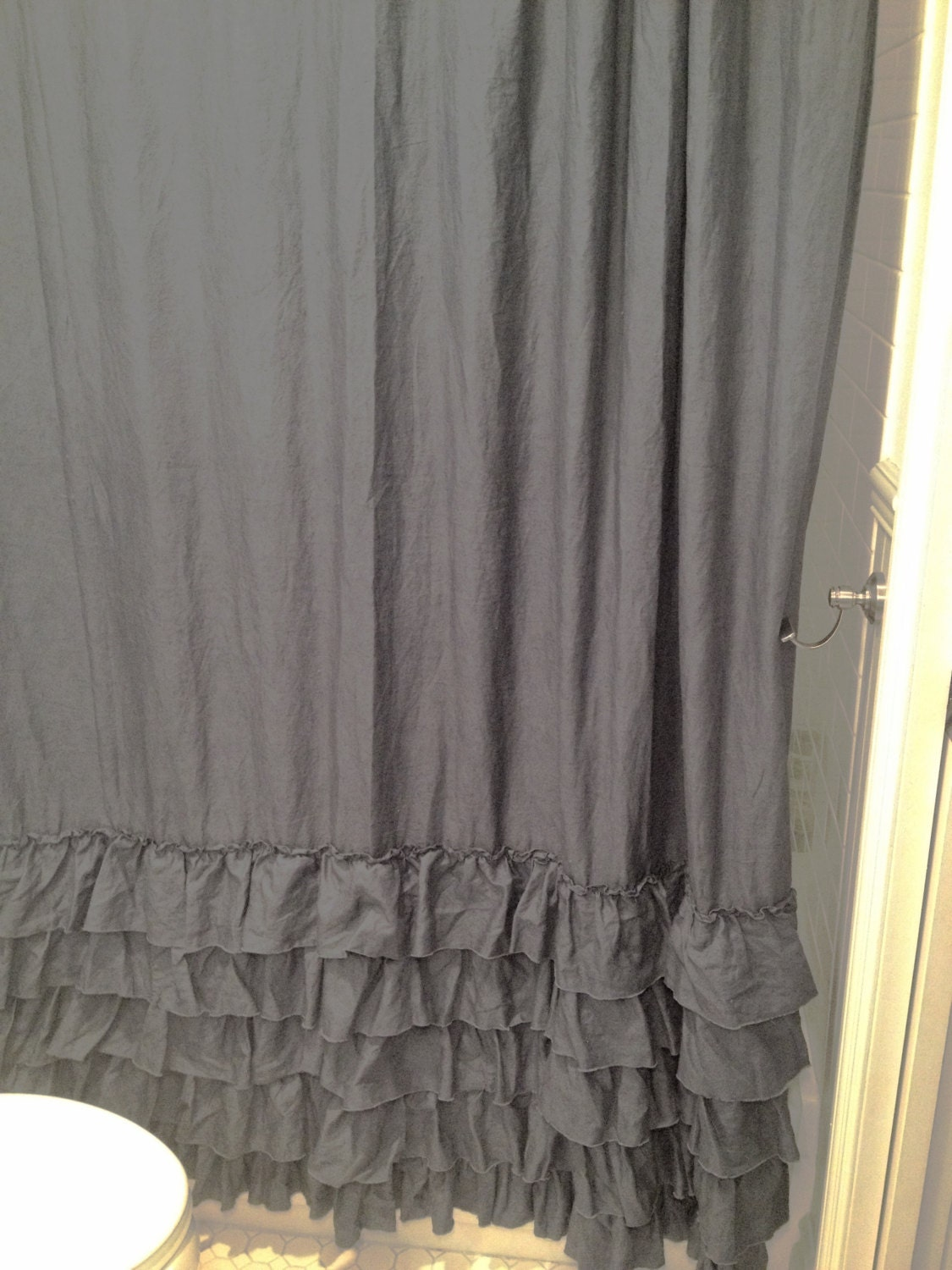 Sale Sofia Ruffle Shower Curtain Slate Linen By Fullbloomcottage
