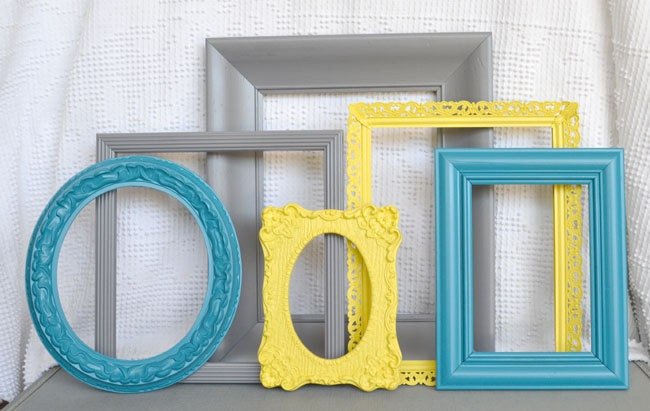 Reserved For Meaghan Yellow Grey Teal Frames Set Of By
