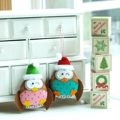 Reserved KRISTINAHACKWELL - 2 Santa Baby Owl 1 Bird Christmas Keepsake with cotton twine string