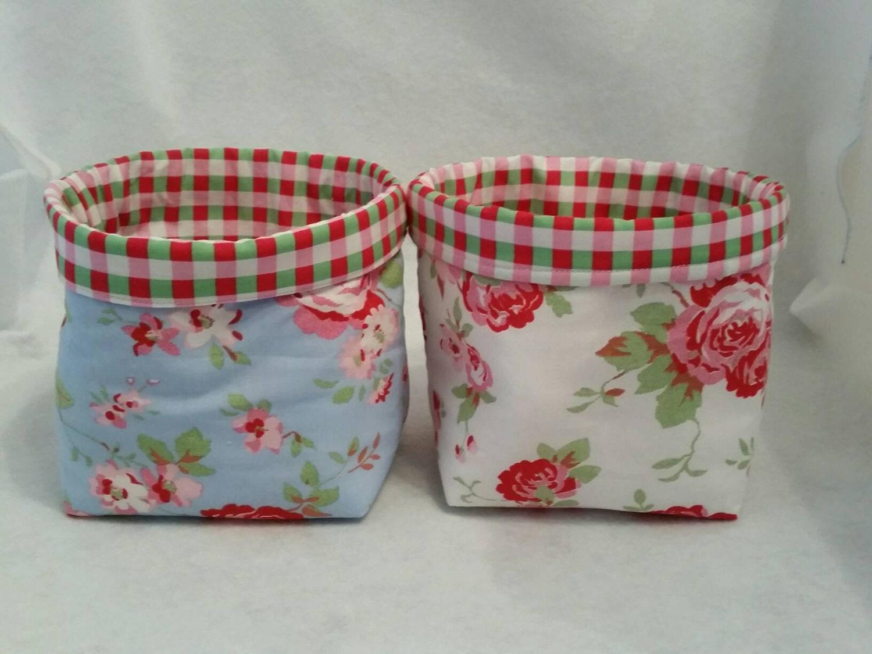 2 x Cath Kidston Rosali Ikea blue rosewhite rosechecked fabric Bits  bobs Storage basketboxtub