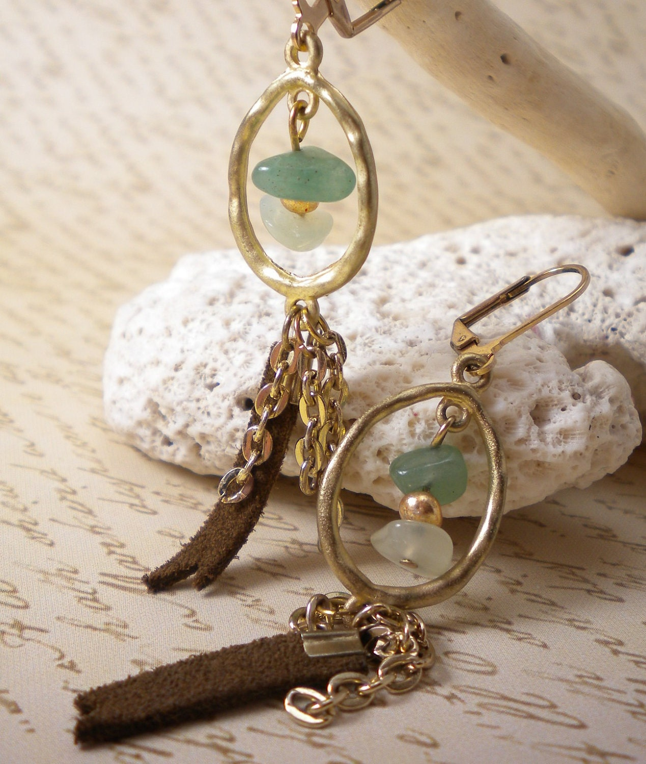 Amazonite Leather Gold Dangle Earrings