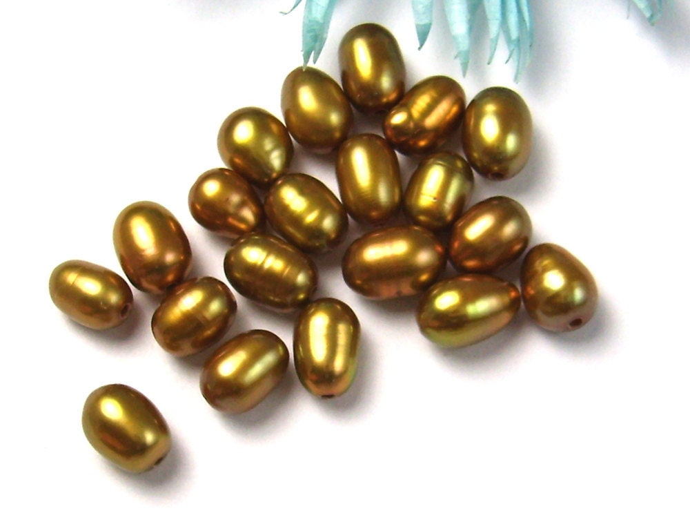 5mm to 7mm Fresh Water Pearls BronzeColor 20 Pack - BaubleBinBeads