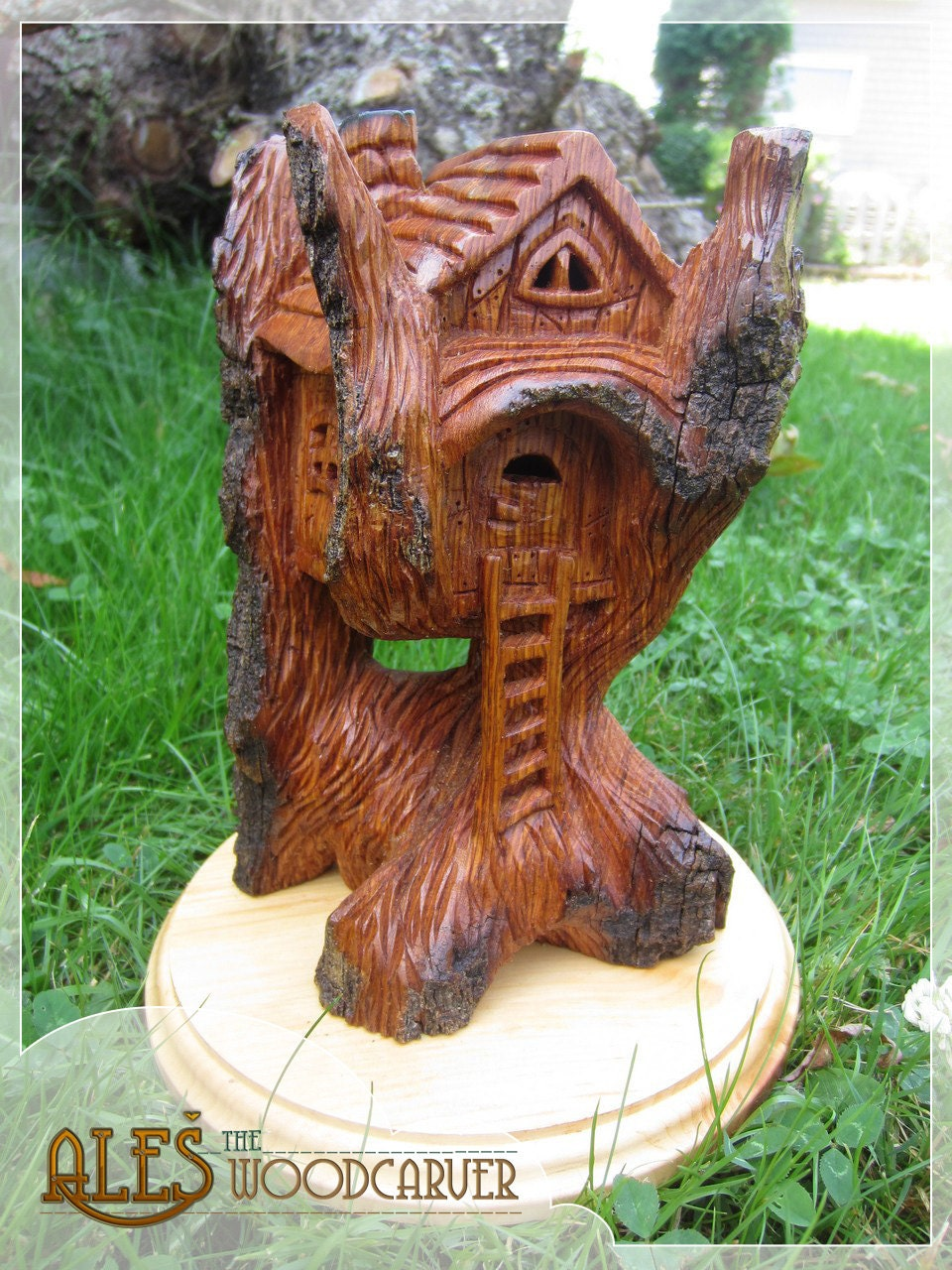 Whimsical house cottonwood bark carving - House in a Tree - beautiful decoration, one of a kind - Alesthewoodcarver