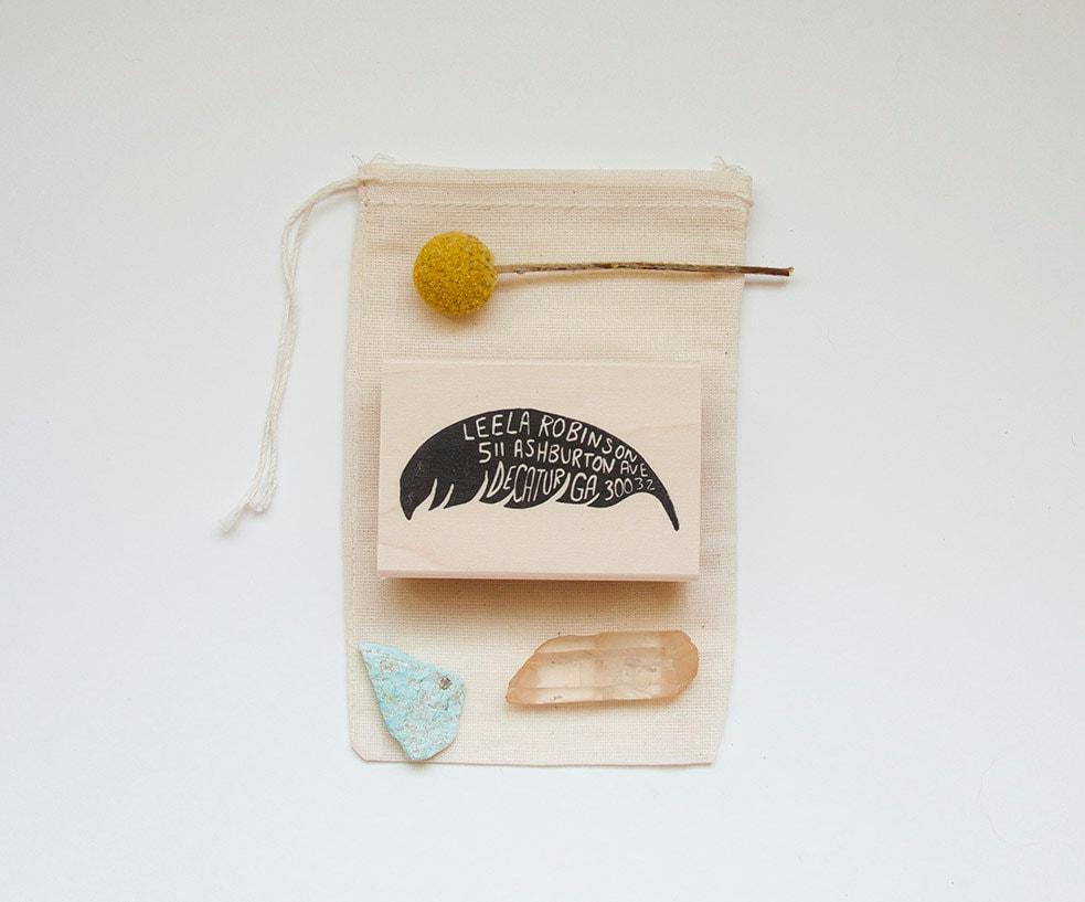 Feather Return Address Stamp, 2x3 - nativebear