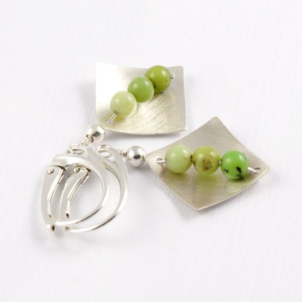 Chrysoprase  Earrings Stone Sterling Silver Earrings Green Chrysoprase Earrings Silvergallerycomau - silvergallerycomau