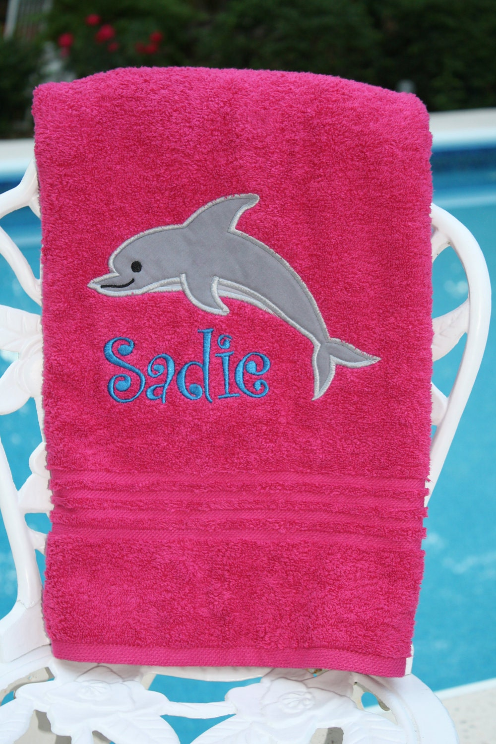embroidered monogramed dolphin towel for by peasonalizedpeacock