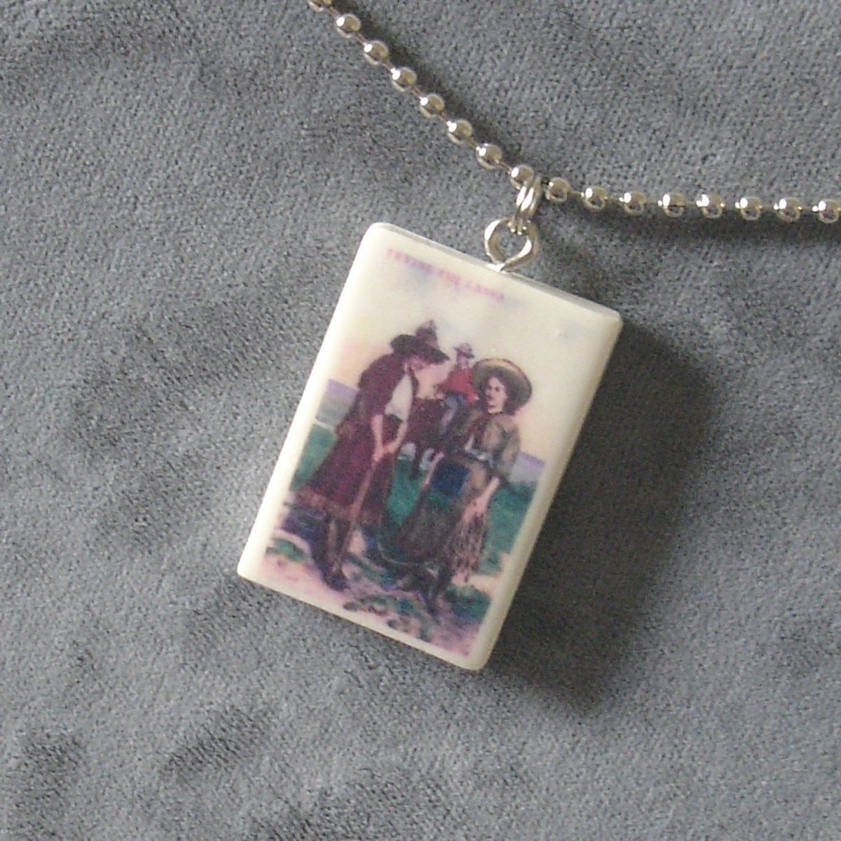 Etsy :: two cowgirls pendant necklace