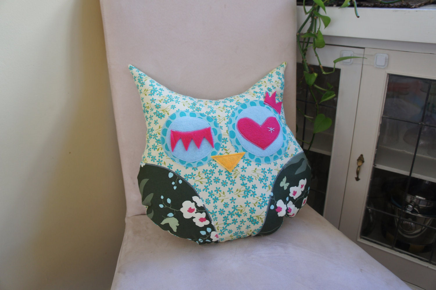 Large Lucky Owl Decorative Pillow -  blue flowers - Ready to ship