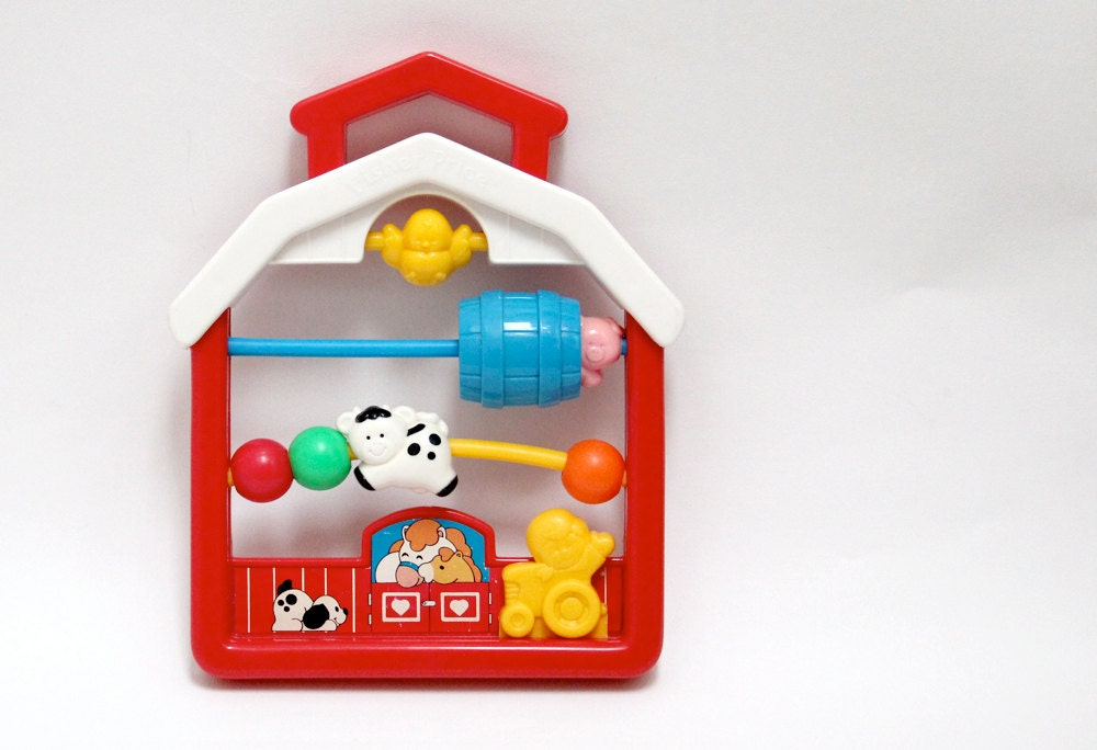 Vintage Fisher Price bead abacus baby rattle in farm design with interactive parts 1991