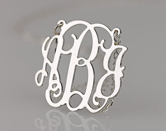"Monogram Necklace 1.6""  Tortoise Acrylic - Custom Made with 18k Gold Plated chain"