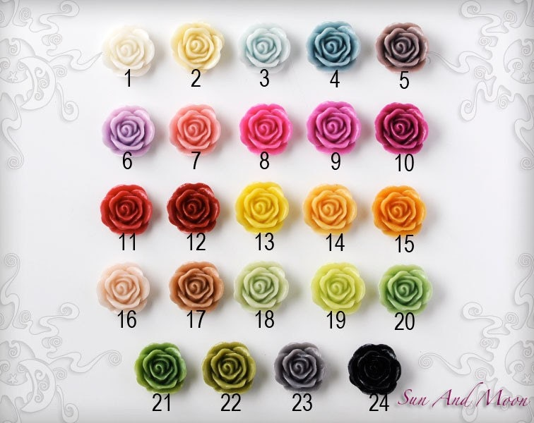 Resin Cabochons - 20pcs - 20mm Vintage Rose Flower Cabochons - Mix and Match Your Choice of Colorful Resin Flowers