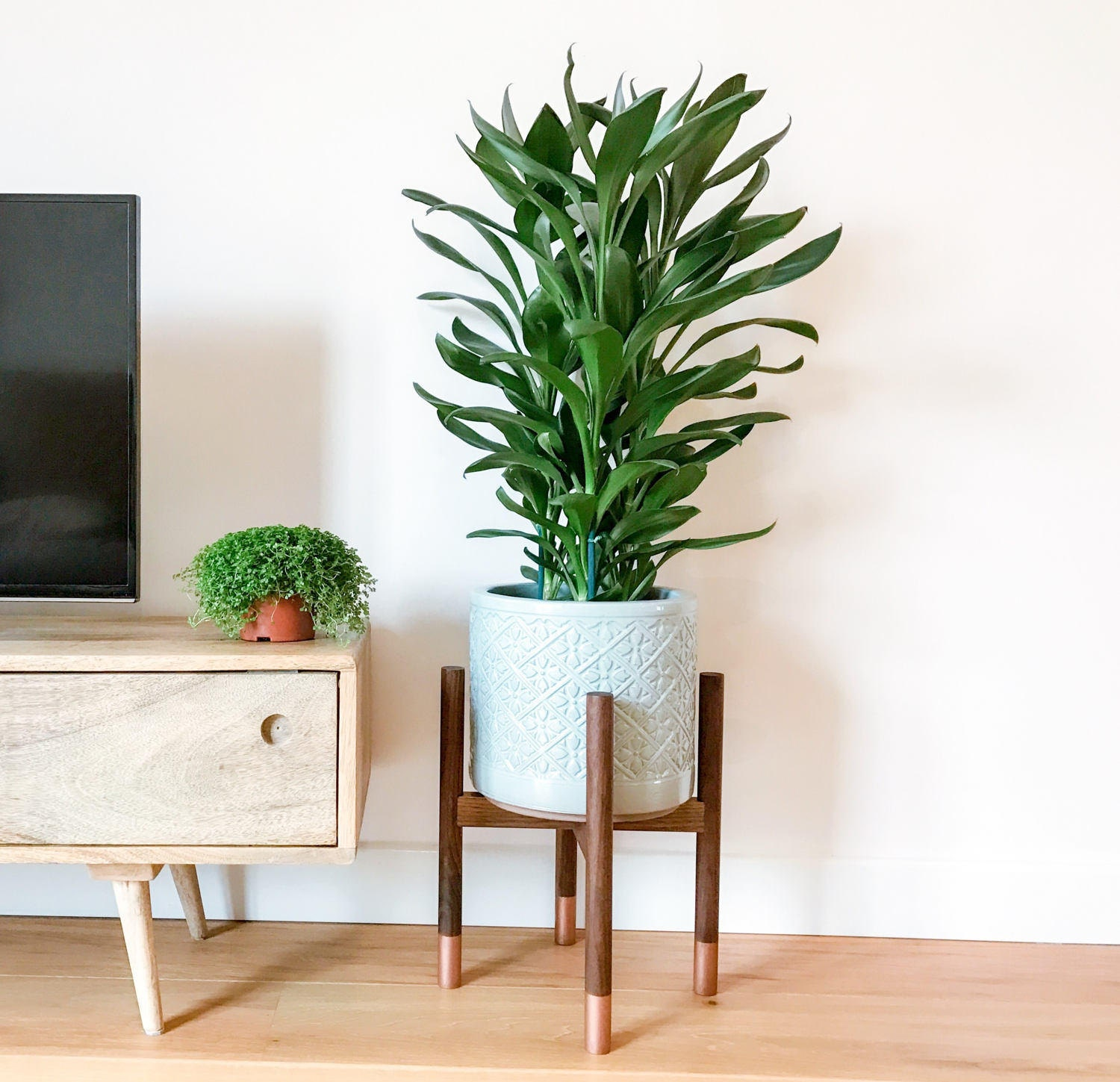 Walnut hardwood midcentury plant stand. Beautiful cool hand crafted design.