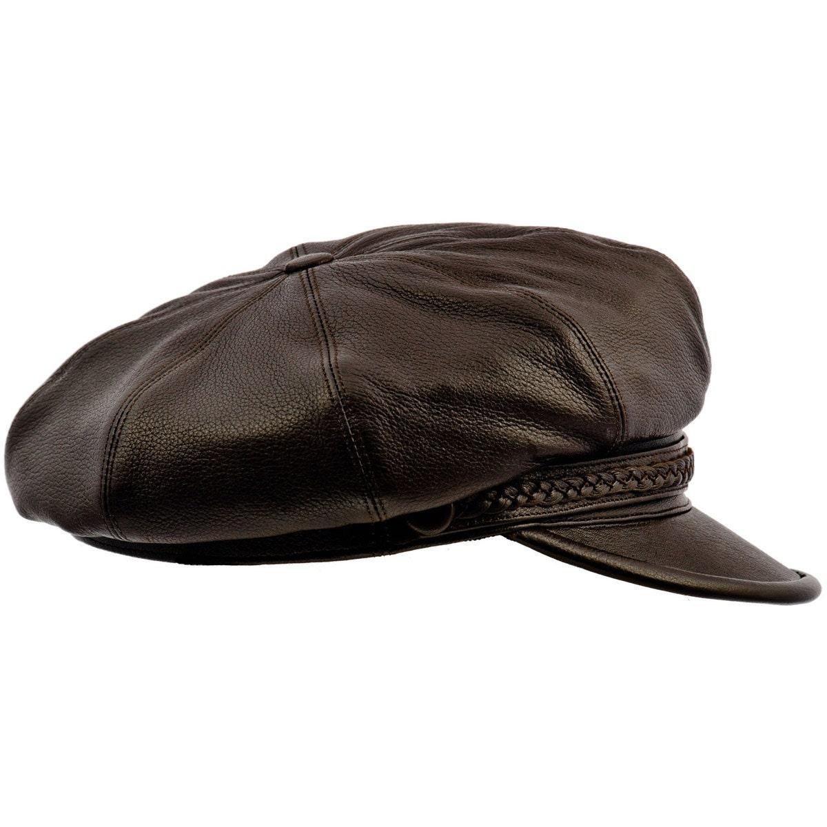 Genuine leather artist dark brown cap gatsby by hattershop