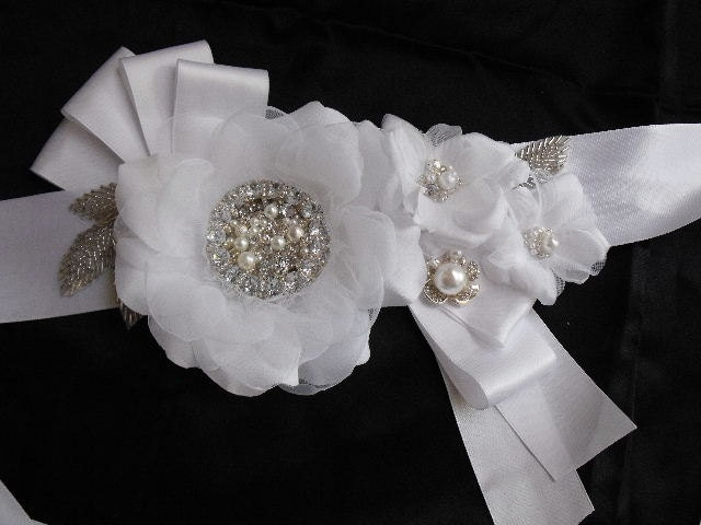 Wedding Gown Sash save June 21 to 24th wedding black white ivory