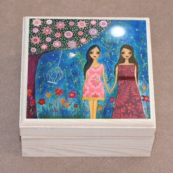Girlfriend Gift  Best Friends Gift  Girl Jewelry Box  Handmade  Wooden Trinket Box