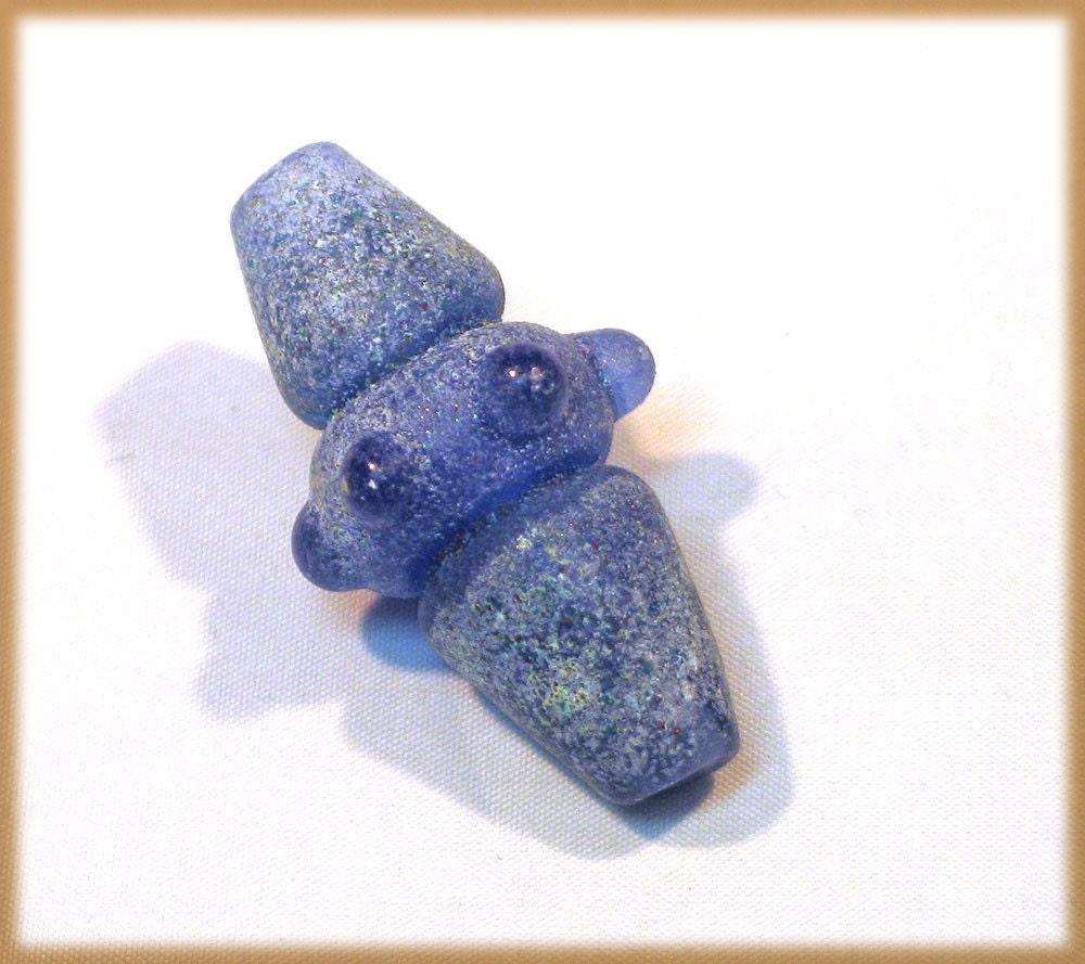 Blue Ancient Artifact Lampwork Glass Bead