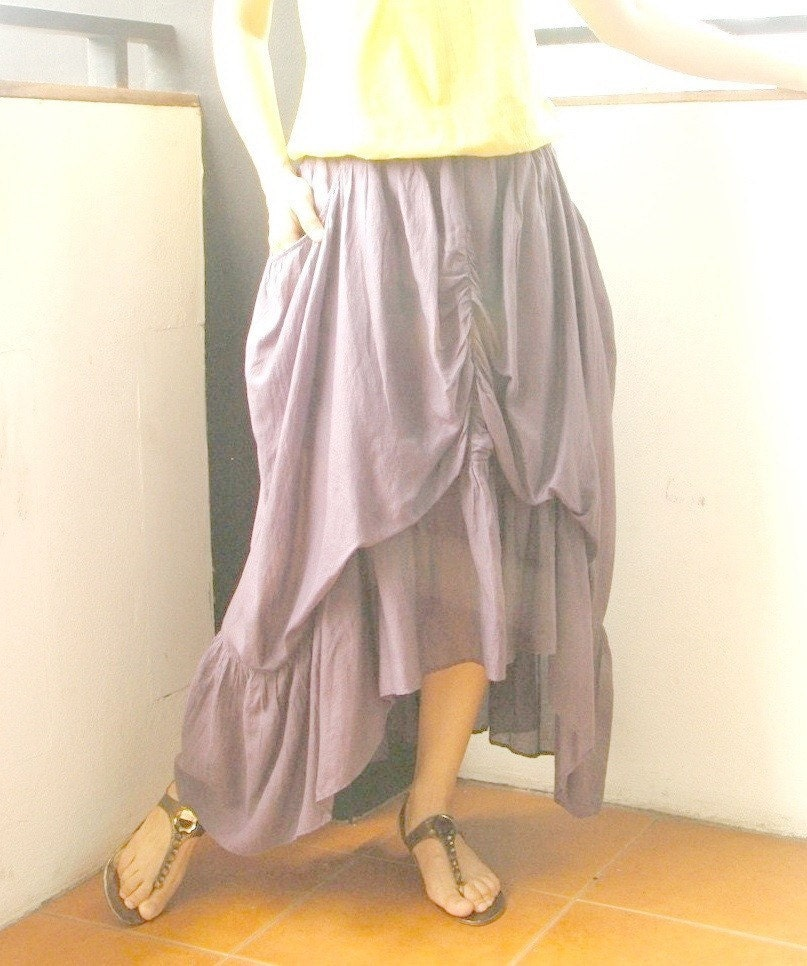 Don' t Let Me Go (Series II)....Steampunk Layered Gathering Filament Cotton Skirt In Dusty Lavender  Color With 2 Roomy Pockets
