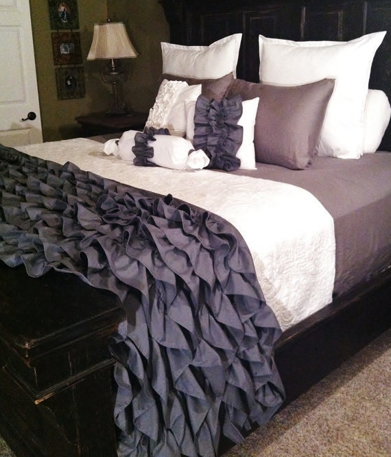 gray ruffled bedding by likemymotherdoes on etsy