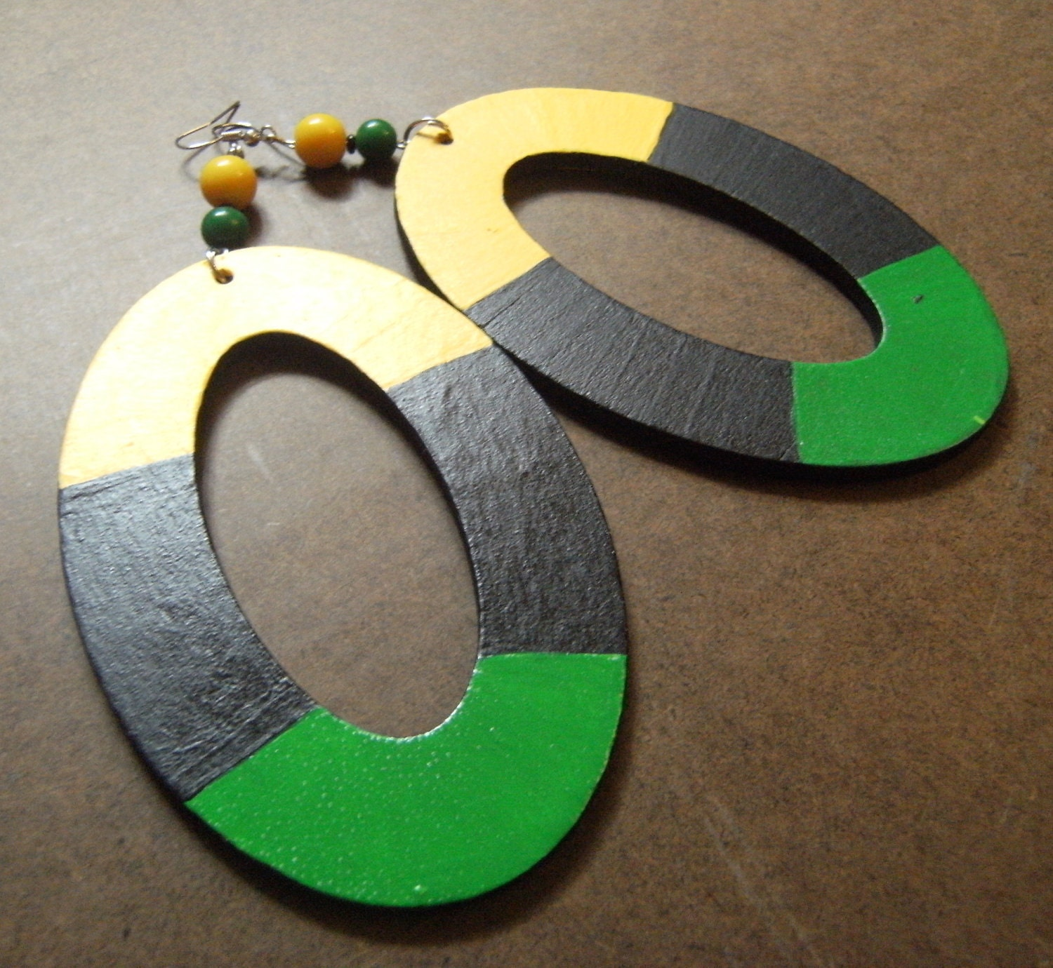 Jamaica Hand Painted Beaded earrings by ParadiseInt on Etsy from etsy.com