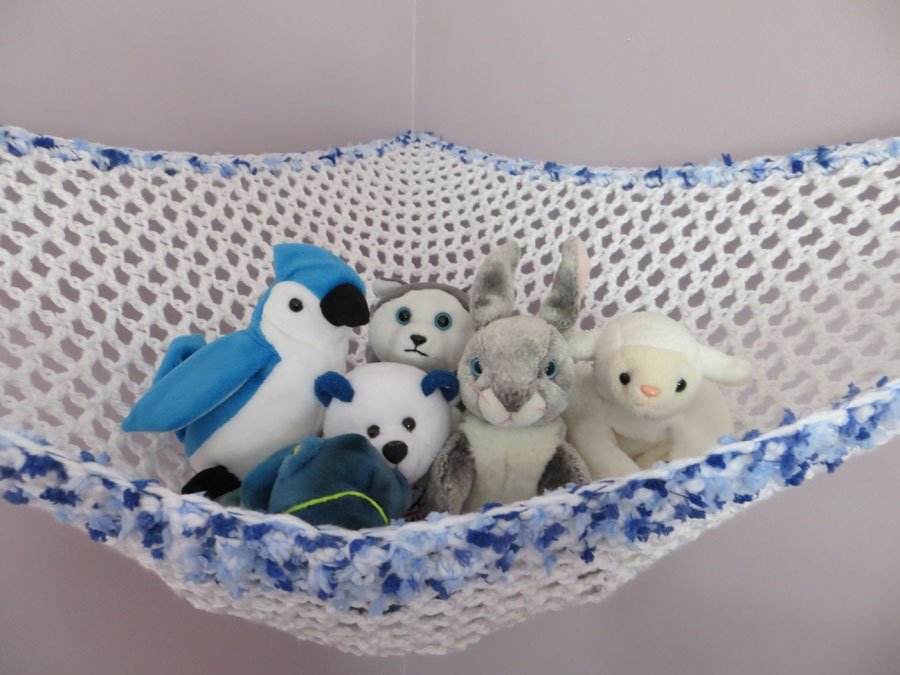 items similar to crochet toy net hammock in white with blue sprinkle yarn trim stuffed animal. Black Bedroom Furniture Sets. Home Design Ideas