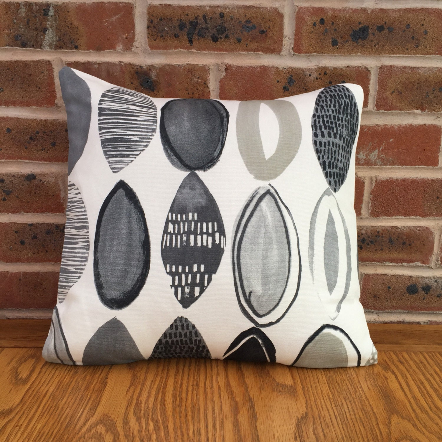 Black and Grey Paint Style Design Oval Shapes 16  40cm Geometric  Cushion Cover