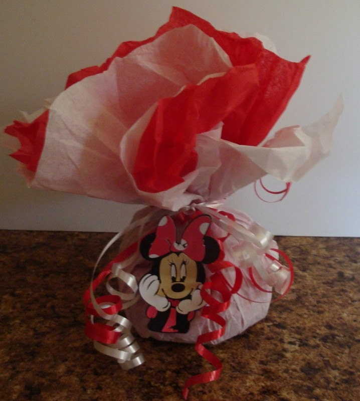 Minnie mouse balloon weight centerpiece by catchmybluesky