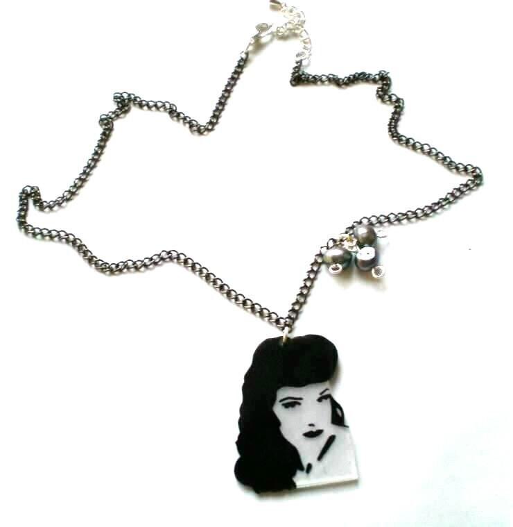 Dita von Teese portrait necklace