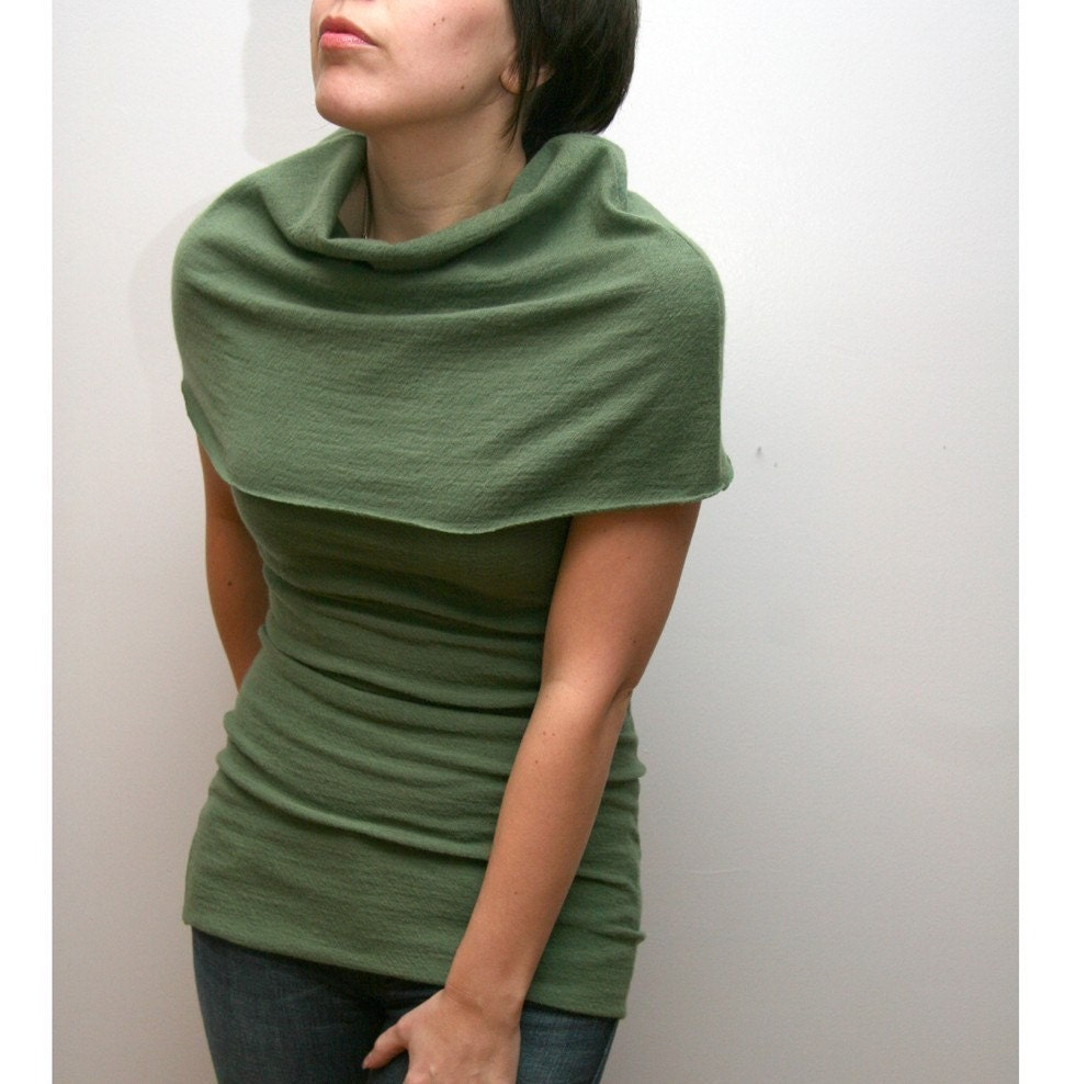 felted fine merino wool knit fold over capelet top - made to measure