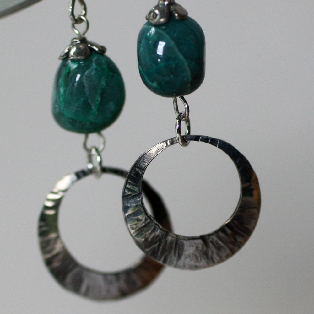 Chrysocolla Sterling Hoop Earrings by capitalcitycrafts on Etsy from etsy.com
