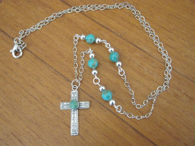 Sterling Silver and Genuine Turquoise Gemstone Hand Stamped Cross