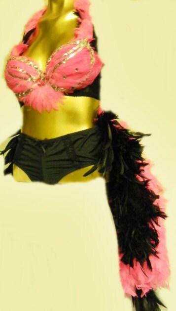 Pink Flamingo Burlesque Costume Las Vegas Showgirl custom Made costume 4U