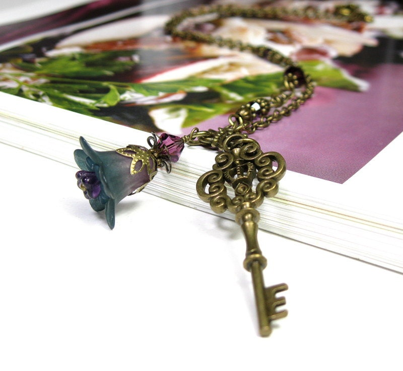 Amethyst Flower, Antiqued Brass Key, Pendant Necklace