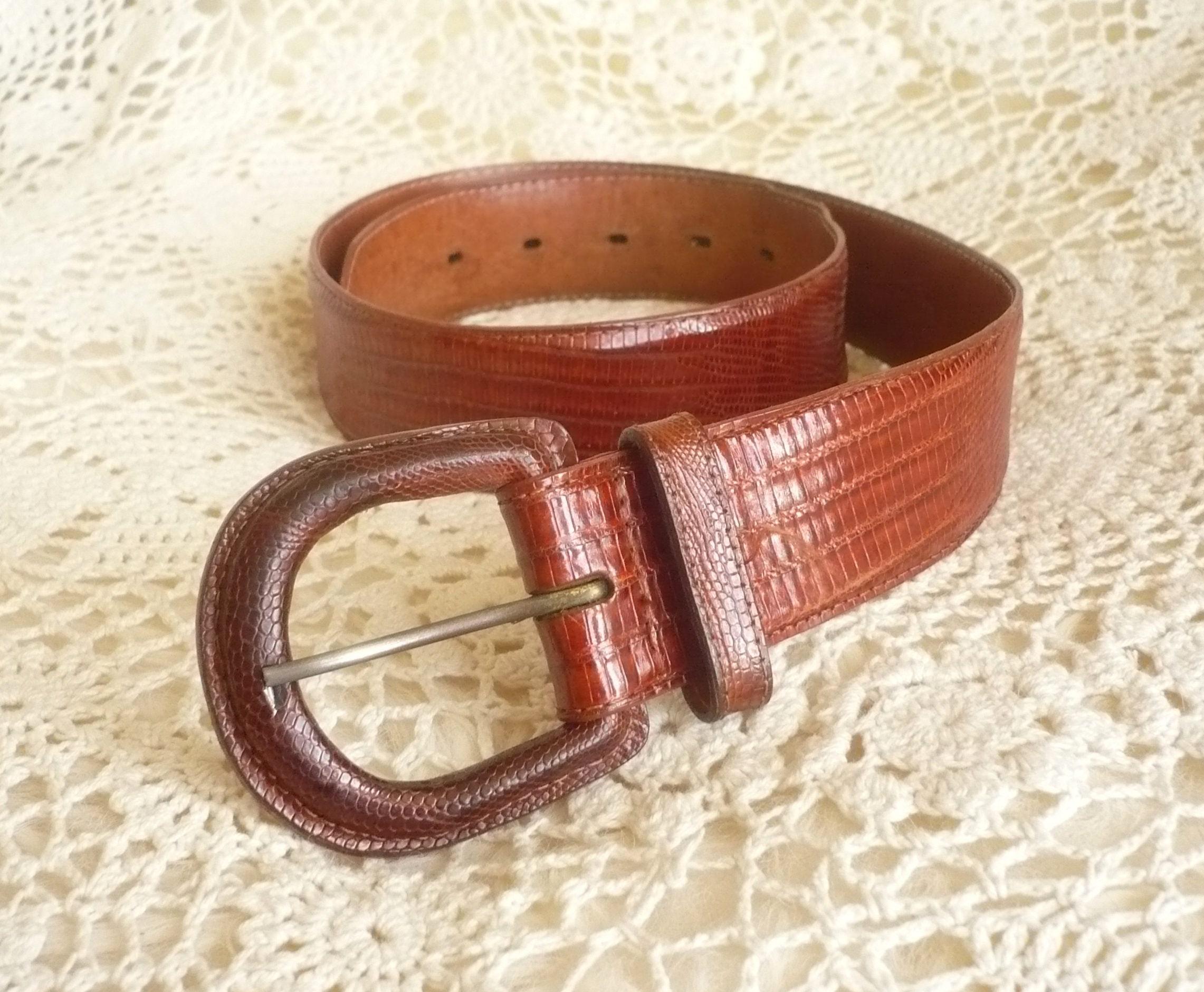 Polo RALPH LAUREN Genuine Lizard Skin Brown Bohemian Waist Belt Size XS  S M
