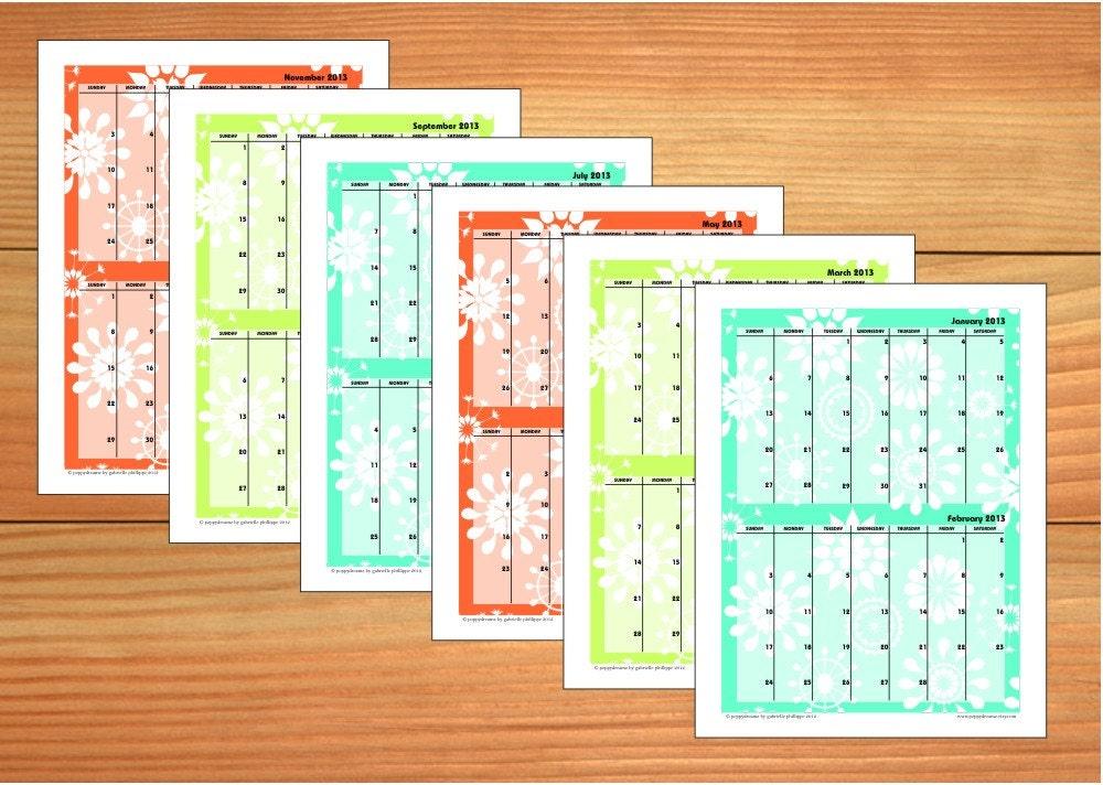 Page Printable Calendar PDF format (8 1/2 x 11) 2-month per page