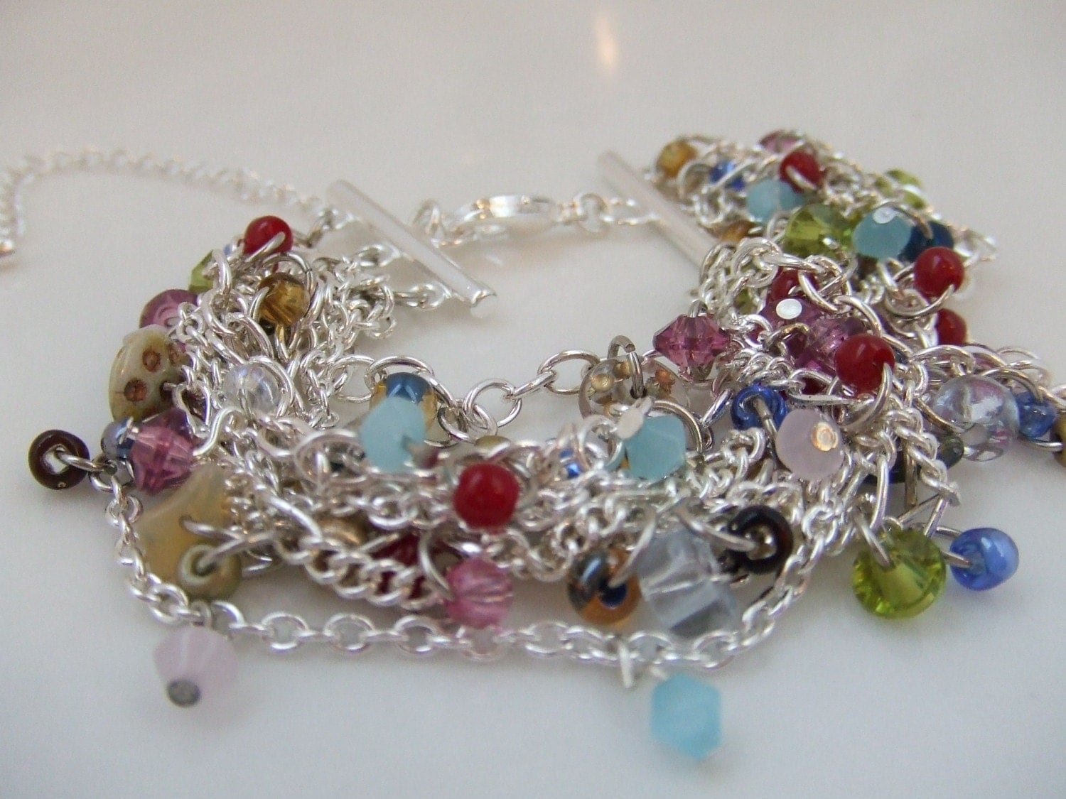 Etsy - Chain Reaction Bracelet/Anklet :  blue green fun edgy
