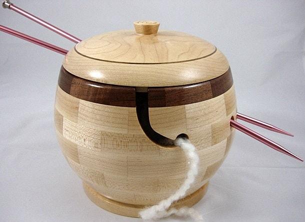 Knitting Bowls Wood : New lidded wooden knitting and yarn bowl walnut by