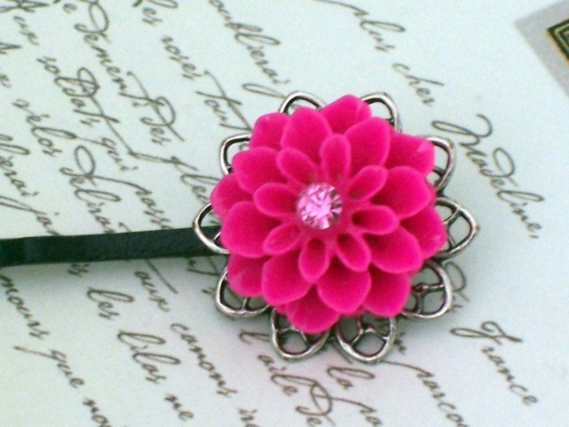Fuschia Pink Flower Hairpins With Vintage Rhinestone by malves1009