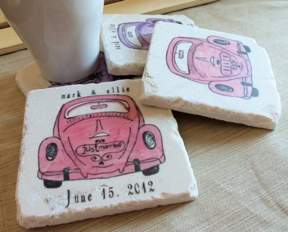 Personalized Love Bug Tile Coasters, Set of 4