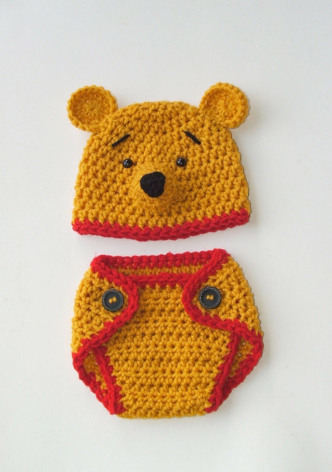 "Winnie the Pooh ""inspired"" HAT ONLY  (Newborn-3 month / 3-6 month sizes)"