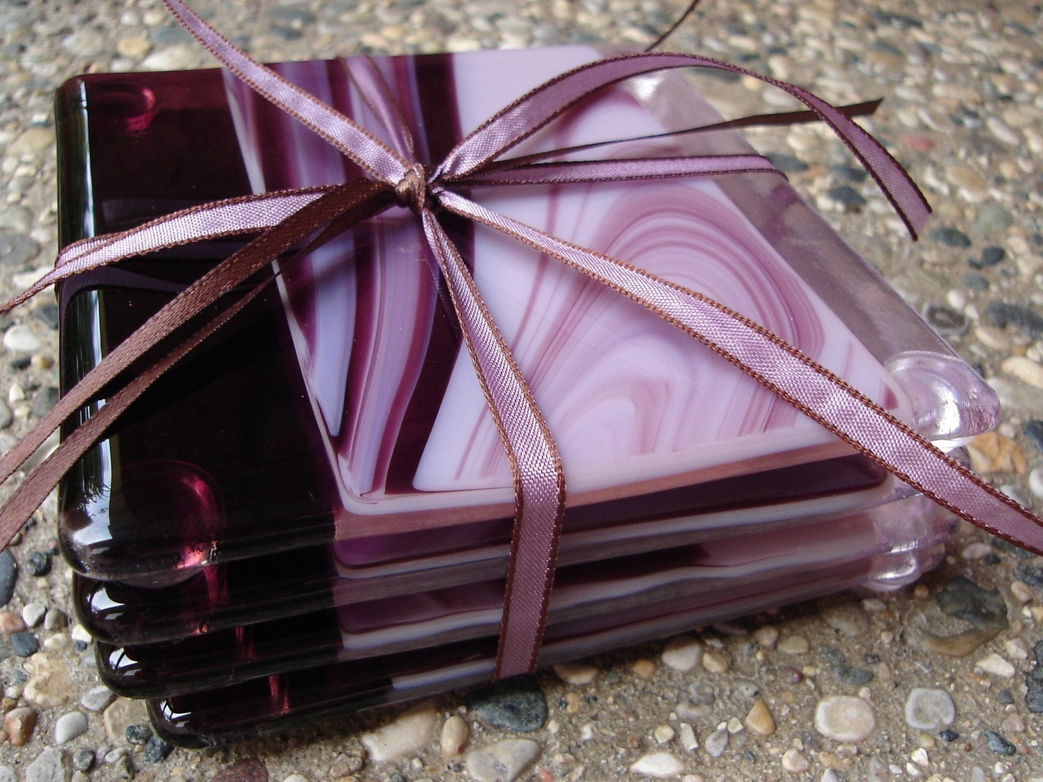 Plum Swirls Fused Glass Coasters