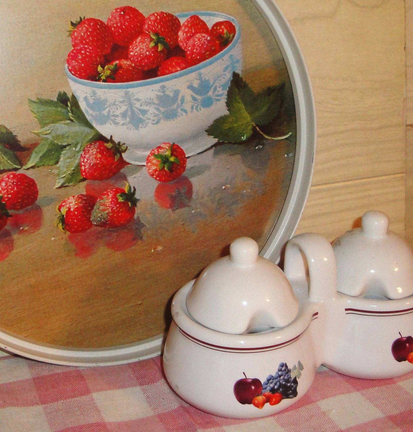Vintage Metal Strawberry Tray Ceramic Jam Or By