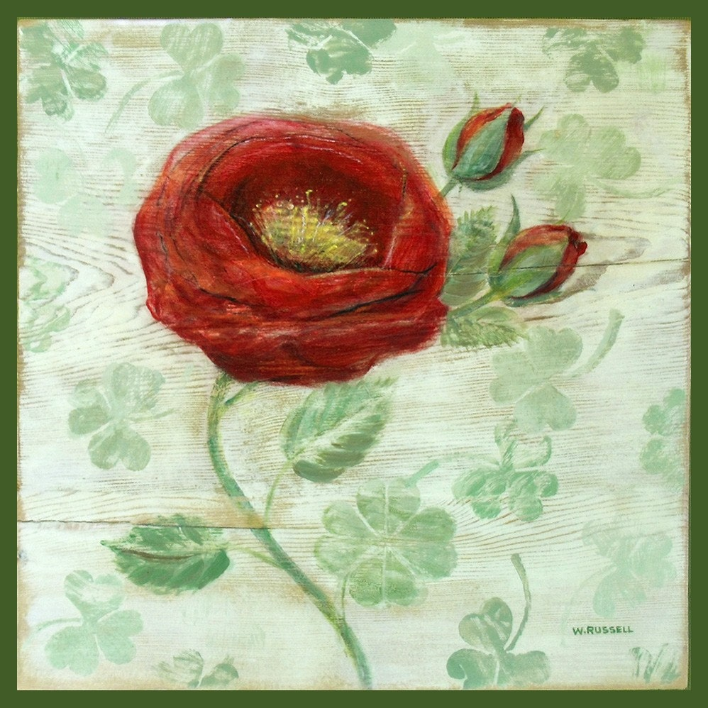 Original Folk Art Painting on Wood-Wild Irish Rose