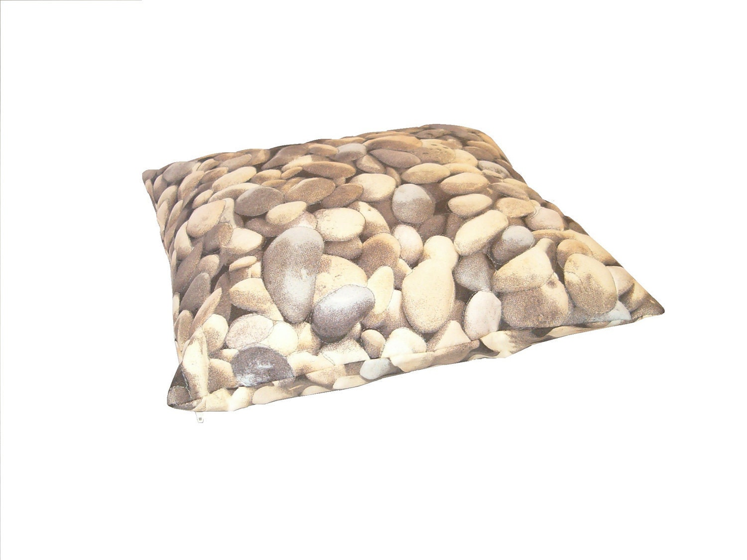 Rock Pillowcase - lumbar rectangular pebble stone natural photographic gray greige realistic landscape riverbed boulder 3D, HET - Customquiltsbyeva