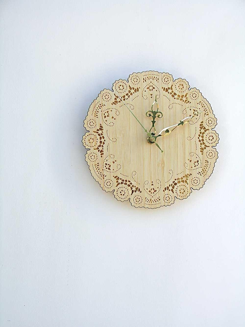 boho bamboo doily clock - uncommon
