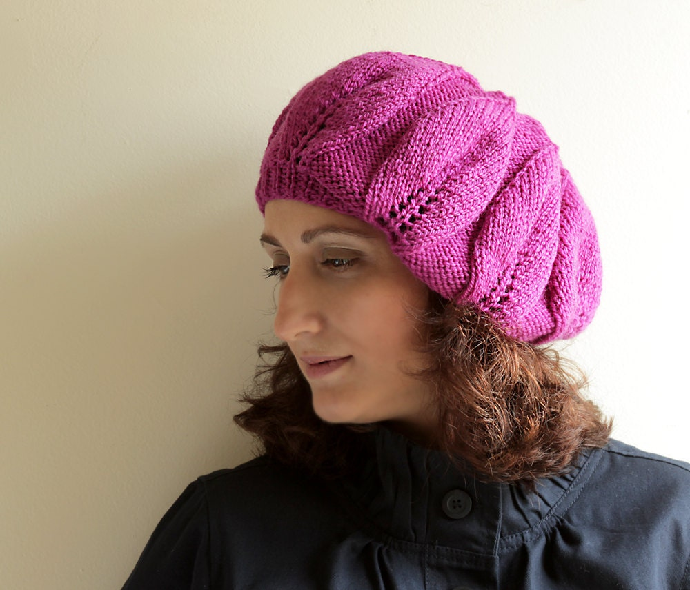 Knit  cap with a slouchy silhouette in orchid color / Handmade Hat Beret  Beanie Slouch Tam / Ready to ship